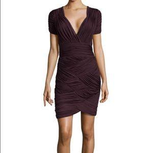 Halston Heritage Ruched Faille V-Neck Dress